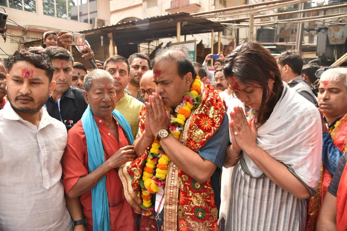 """Himanta Biswa Sarma on Twitter: """"Took blessings at Maa Kamakhya temple and  Doul Govinda temple before my journey to file nomination for Jalukbari LAC.  Please join and support me for a new"""