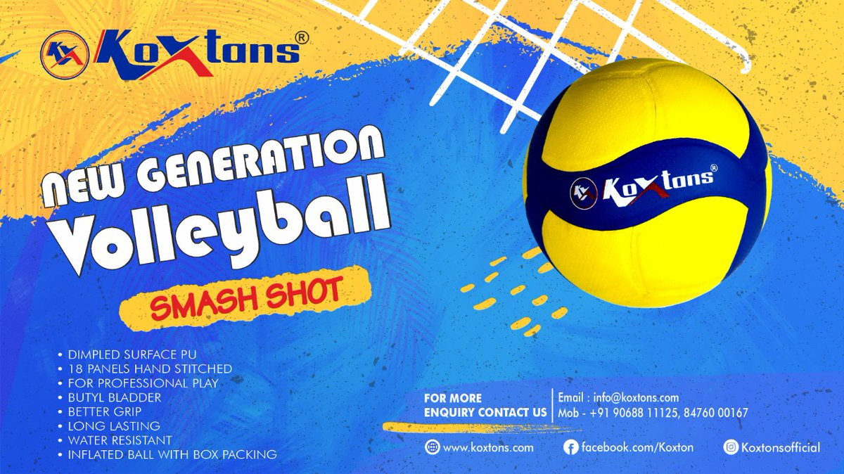The KOXTONS SMASH-SHOT is definitely the ball of choice for all. Visit https://t.co/lMNXHnQaNt or DM on 9068811125. #volleyball #volleyballsports #inddoroutdoor #outdoorgames #outdoorsports #vollyballindia #stayfit #Koxtons #koxtonsport https://t.co/Z6IBKhjKle
