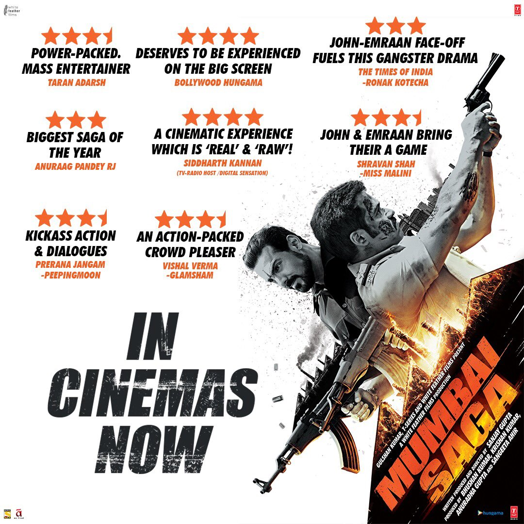 This action packed saga is a head-turner! Get ready for some thrilling action and intense drama. #MumbaiSaga in cinemas now!