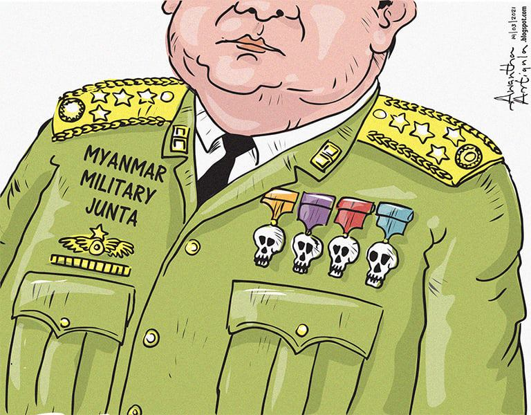 "Political Cartoons of Sri Lanka's tweet - ""Cartoon by @awanthaartigala # Myanmar #MyanmarMilitaryCoup #MyanmarPoliceBrutality #JuntaBrutality "" -  Trendsmap"