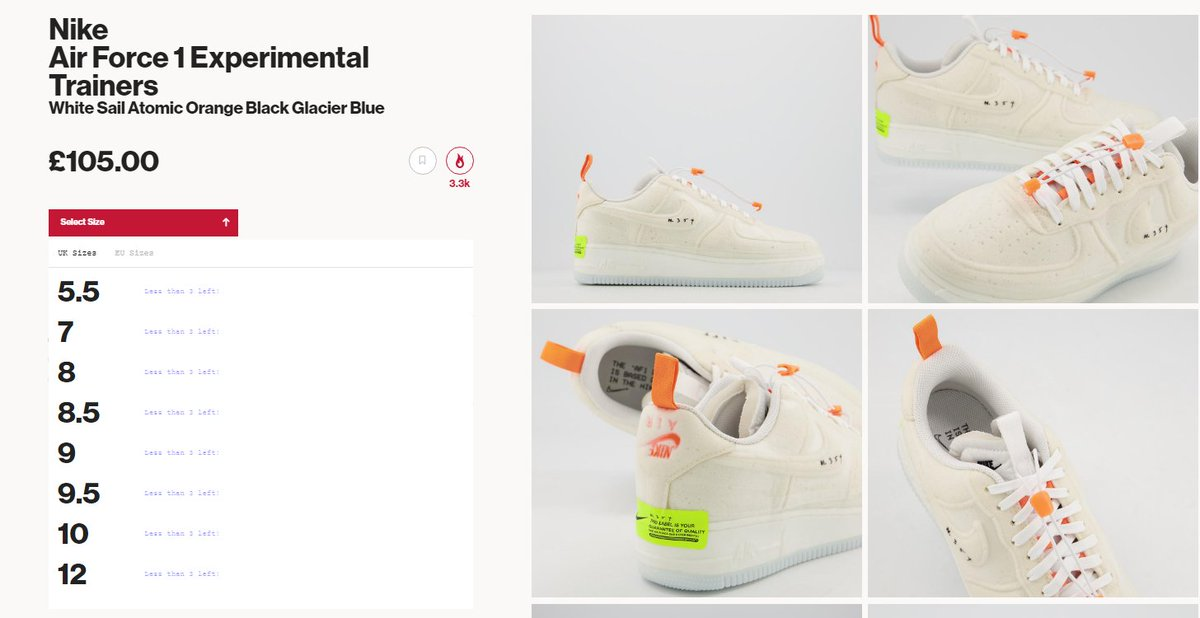 Most sizes restocked: Nike Air Force 1 Experimental