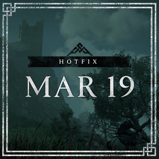 Surrounded by a Norse design border, a dark castle looms up ahead in the green sky filled with clouds. Treetops cover the bottom of the image in black. Hotfix March 19th text is centered in the image.