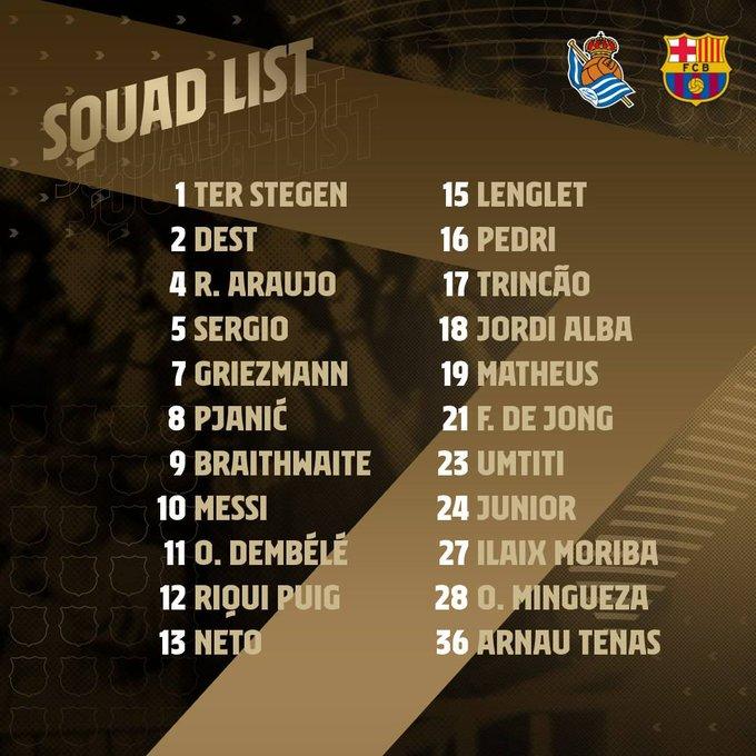 قائمة فريق برشلونة للعب ضد ريال سوسيداد 1