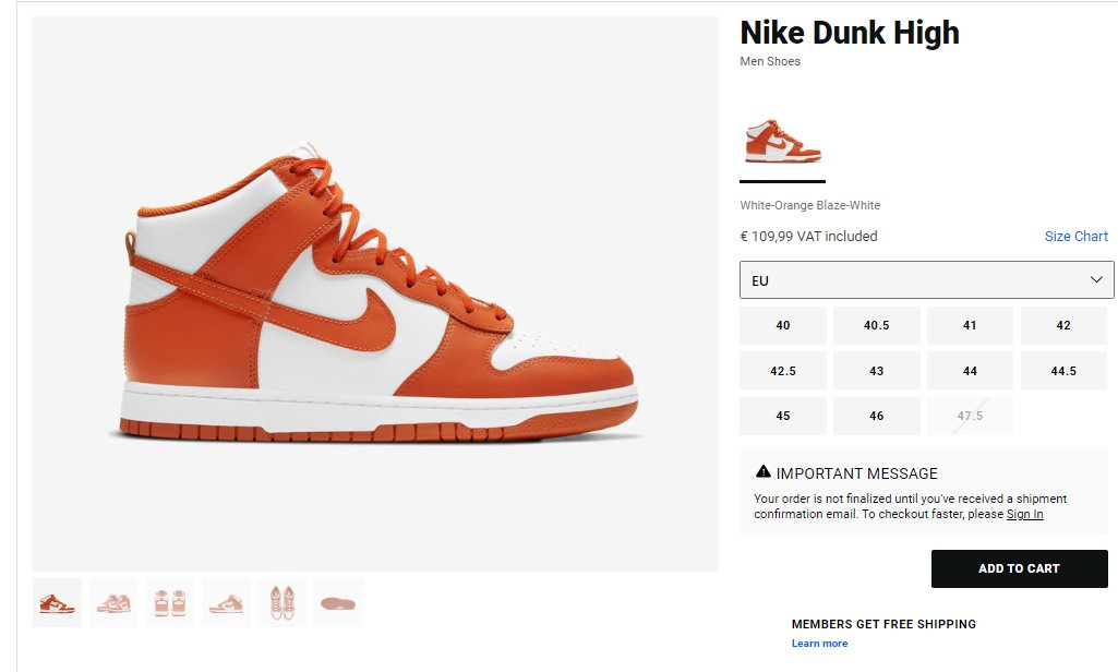 Try adding to cart: Nike Dunk High Retro
