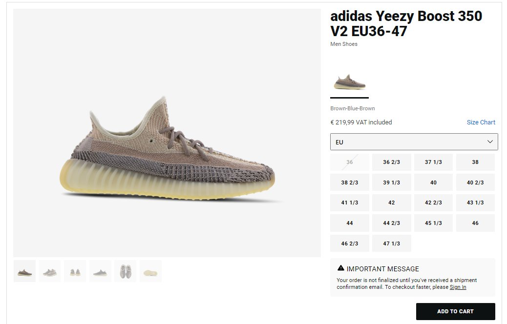 Try adding to cart: Yeezy 350 V2