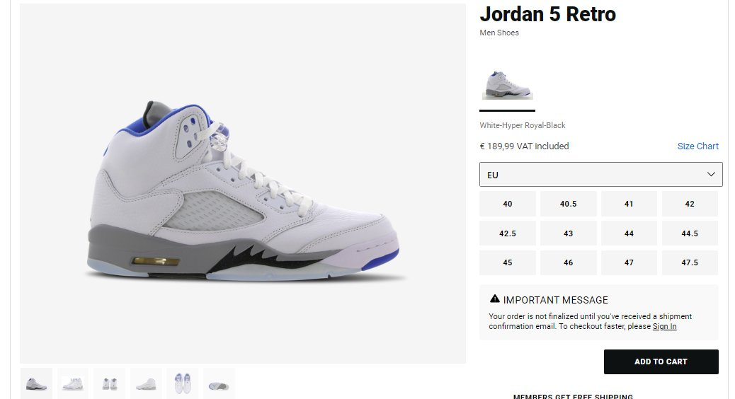All sizes checking out: Air Jordan 5 Retro