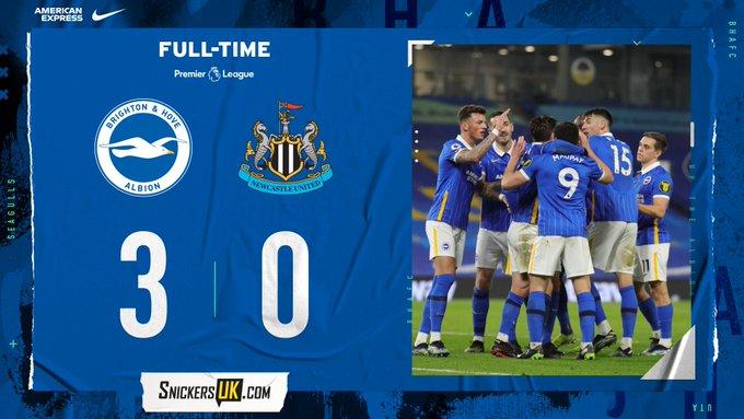 Hasil akhir Brighton 3-0 Newcastle