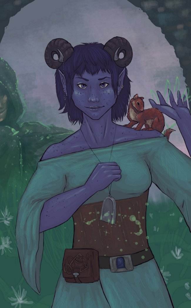 Early-days Jester. Just a girl, her weasel, and her Emotional Support Cult Deity <3 #criticalrolefanart #CriticalRole