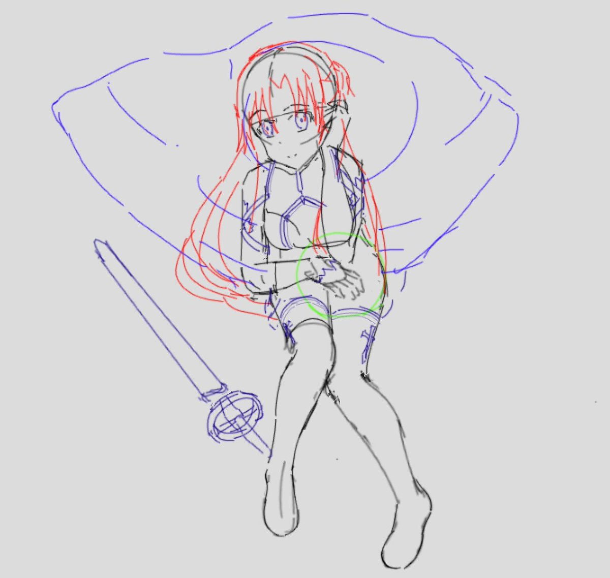 Asuna Yuuki copy study in Drawpile Many thanks to Suzuki Gou for illustrating the reference picture. I was not able to copy it well, as my foreshortening and perspective are definitely off #SAO #Asuna #SwordArtOnline  #SAO好きな人RT #ソードアートオンライン #絵描きさんと繋がりたい