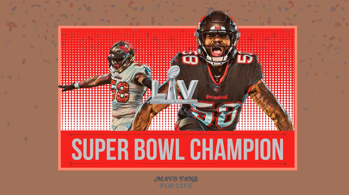 I want to send a big congrats to a big time #MFFL and supporter of ours @ShaquilBarrett on winning #SuperBowlLV last month. Sorry I'm late champ, it's basketball season!