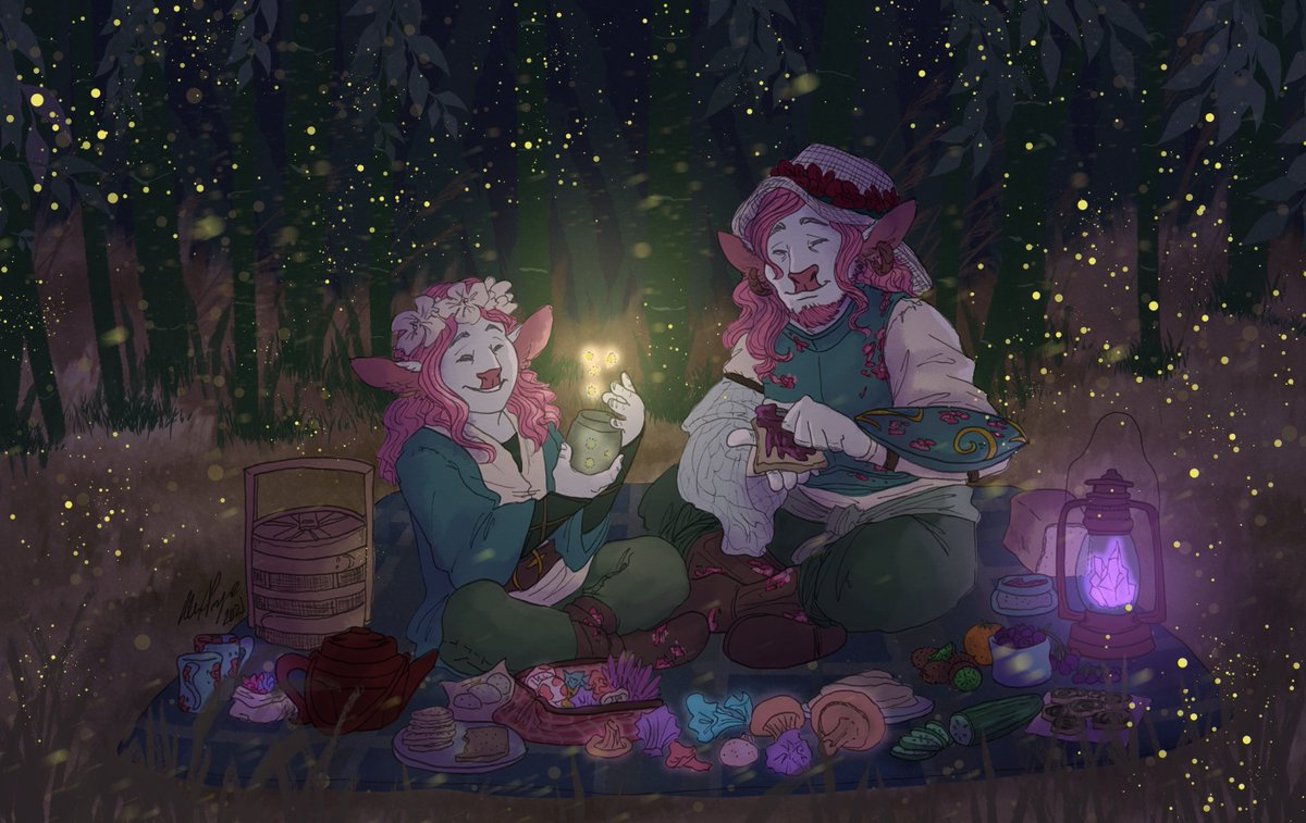 I can hear the cicadas screaming...  Caduceus and Clarabelle having a nice summer evening picnic! This is inspired by an amazing cosplay shot starring @layahimalaya and @neonbirb, videography and editing by @fswrites! #criticalrolefanart #CriticalRole