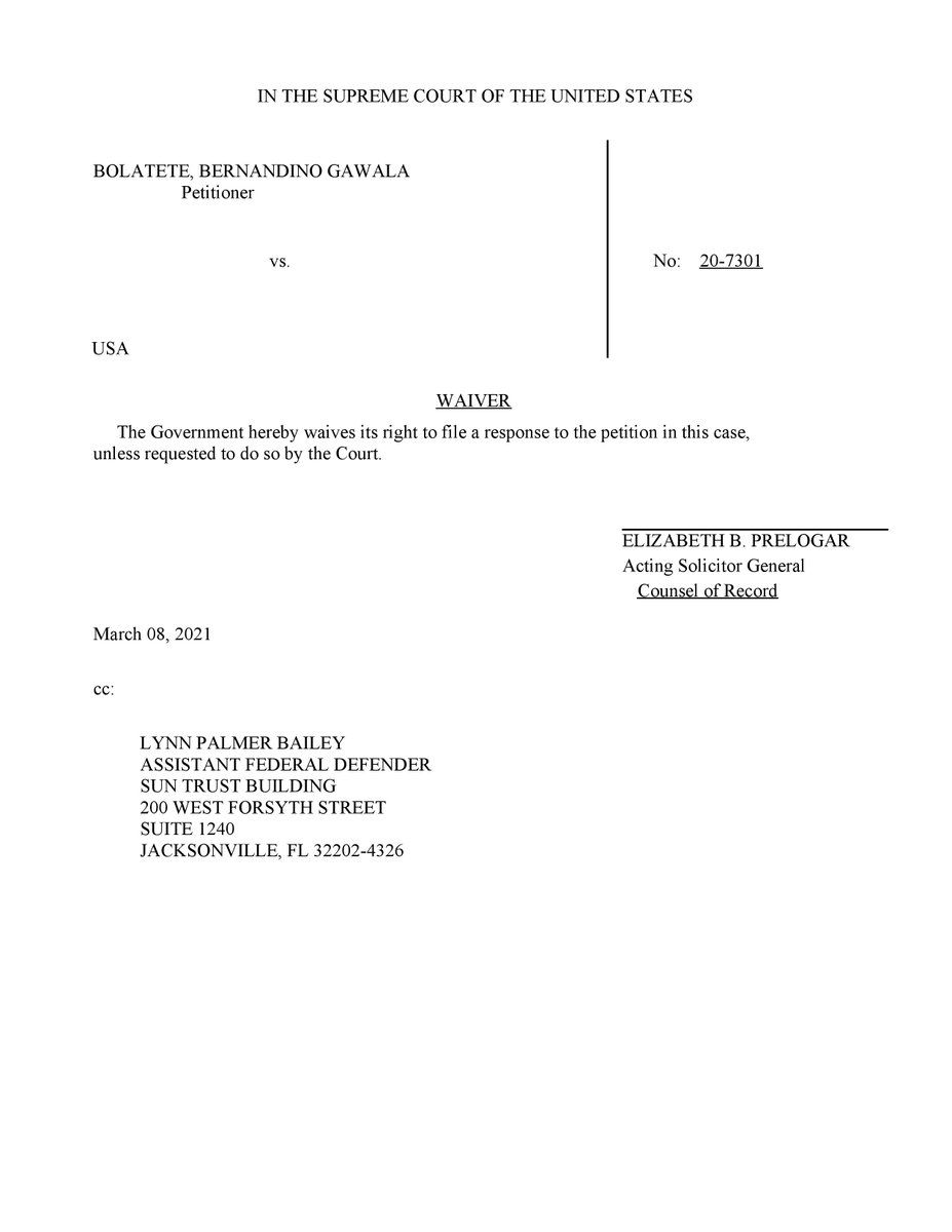 Bolatete v United States (#SCOTUS, 20-7301): Waiver of United States of right to respond