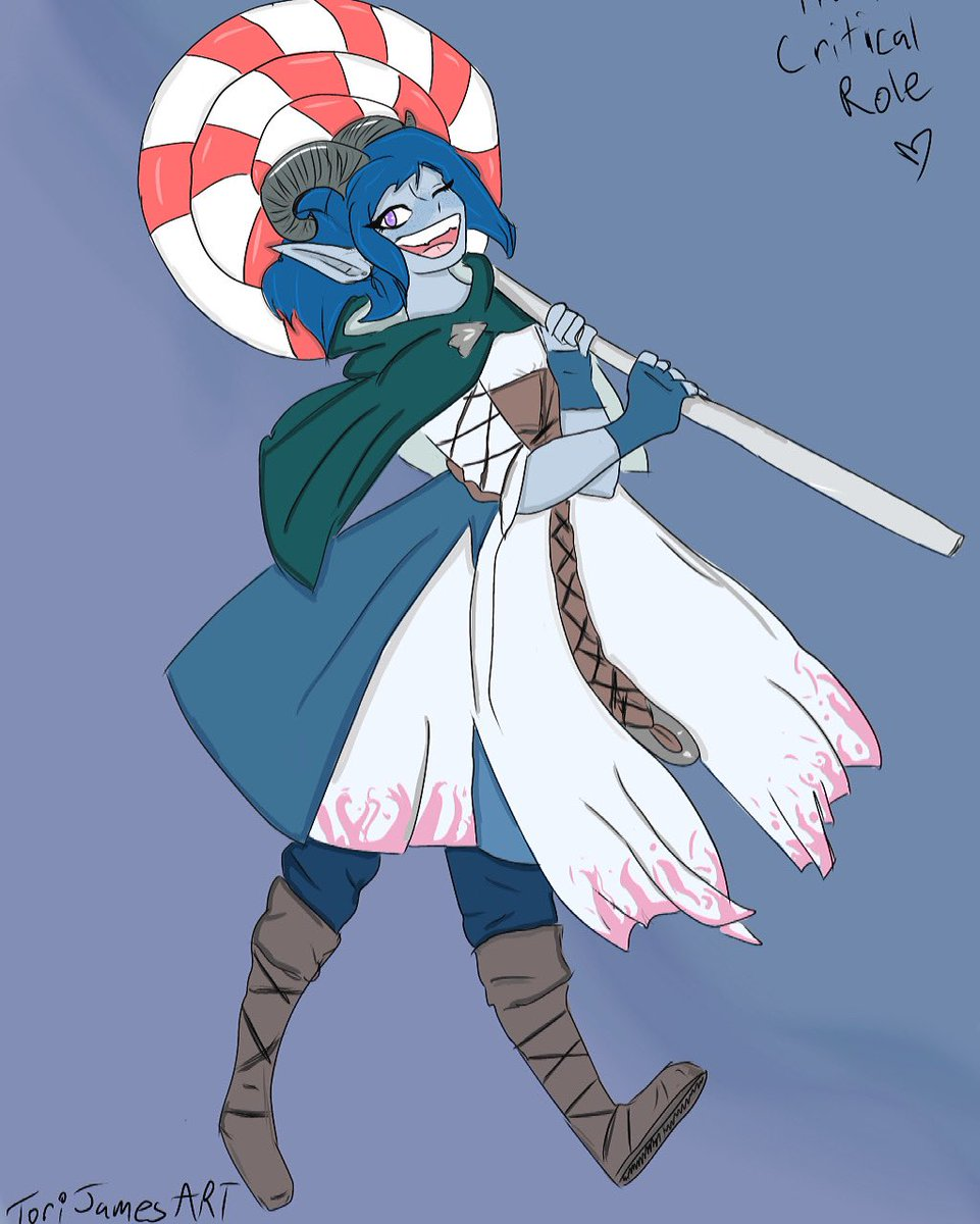 I've been getting into @CriticalRole recently and wanted to draw so I drew Jester 💙I really love how this turned out 💙 @LauraBaileyVO #dndart #criticalrole #artistsontwitter #criticalrolefanart #criticalrolejester #newpost #fun #art #fan #dungeonsanddragons