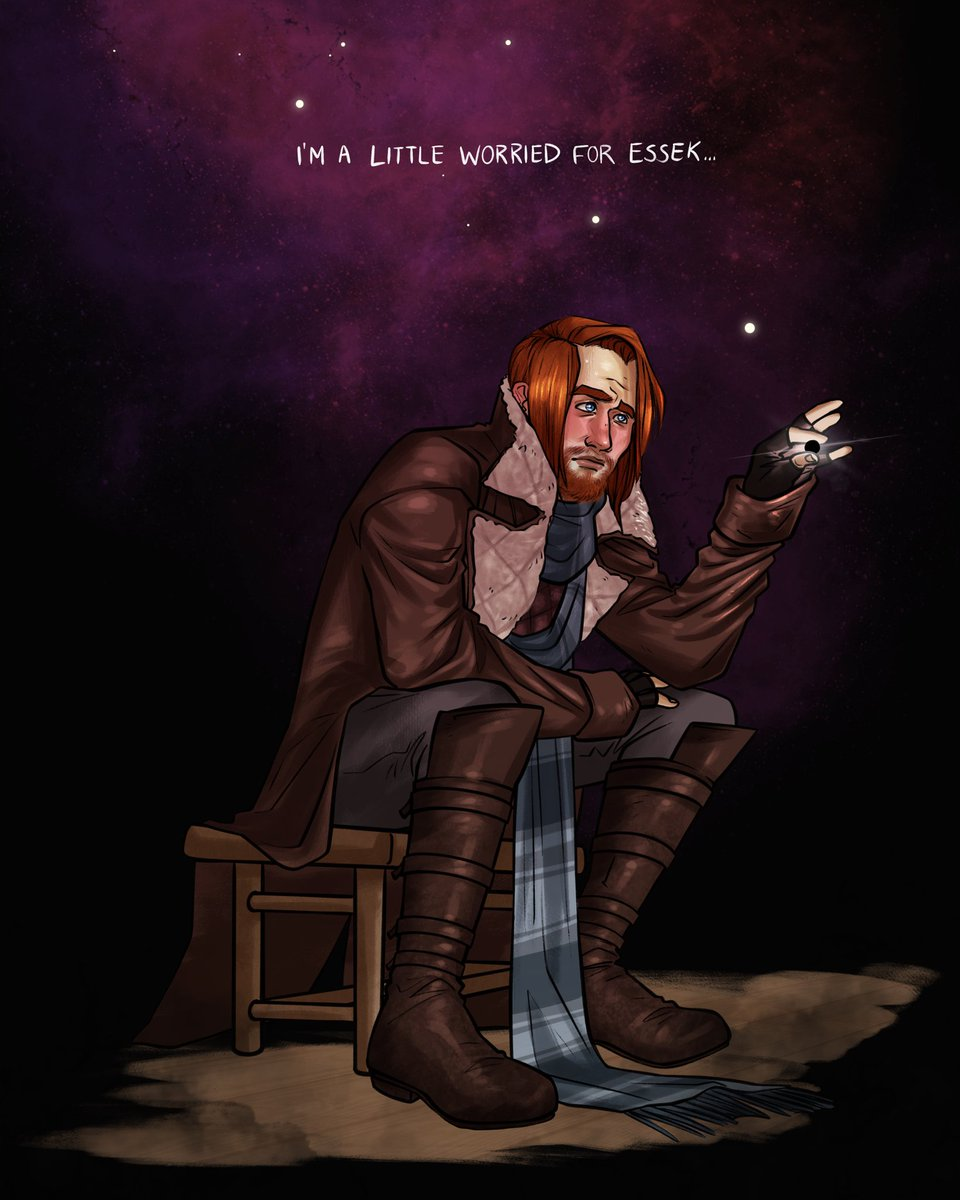 (sorry for reposting but i noticed a thing and it was bothering me!!) Anyway pls next session someone give this poor boy a hug 🥺 he needs one... a bit of a companion to my last Essek piece~ #criticalrolespoilers #crspoilers #criticalrolefanart #crfanart #calebwidogast #crcaleb
