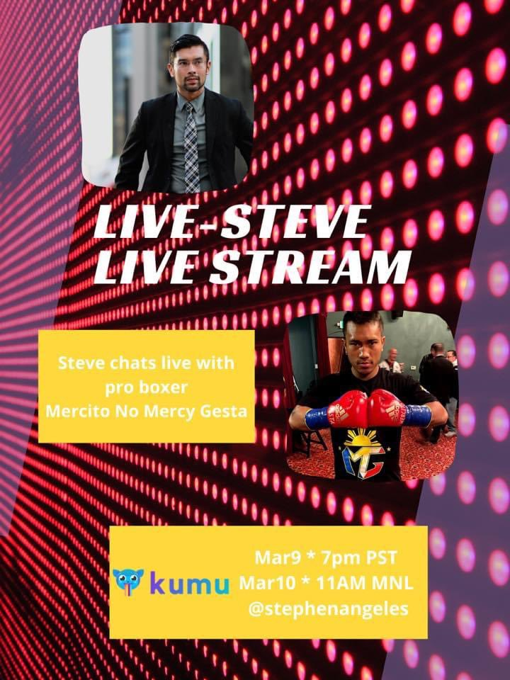 Excited for my interview with @StevieAngeles tomorrow at 7:00pm PT on #Kumu!  Tune in as it will be fun!   #LiveStream #Interview #Boxing
