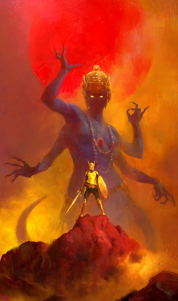 War of Gods By John Anthony Di Giovanni #fantasyart #Epic #Fantastico #giants #creatures