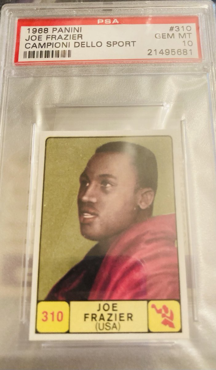 On the 50th anniversary of legendary 1st fight between Joe Frazier and Muhammad Ali, here's a beautiful 1968 Panini Frazier in my #boxing collection. @PSAcard has graded 13 in total. This is the singular one at the 10 level. @JoeOrlandoPSA @darrenrovell