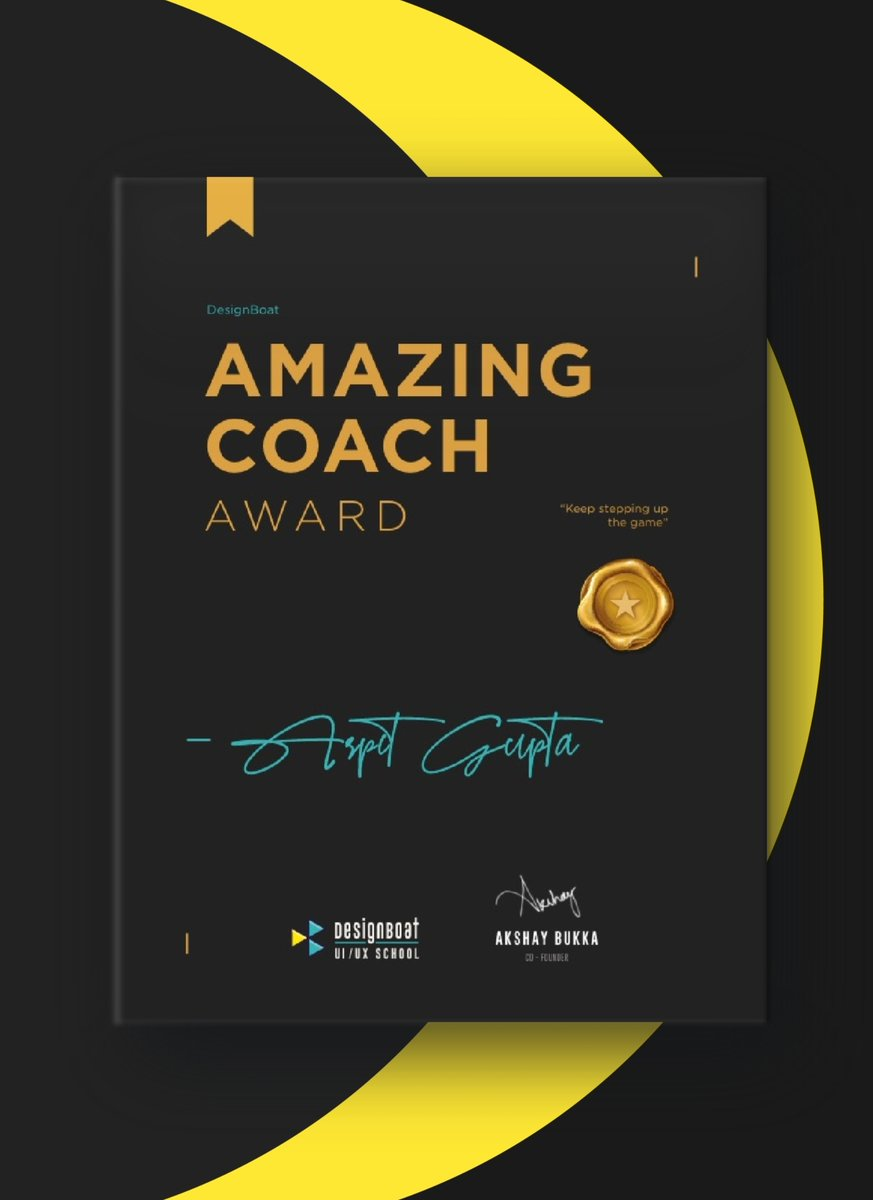 I feel extremely honored after being recognized as Amazing Coach by DesignBoat UI/UX School  Thank you team or appreciating and rewarding me with this award.  #achievement#news#productdesign#UI#designboat#uicoach#uimentor#amazingcoach#award#designeducation#design