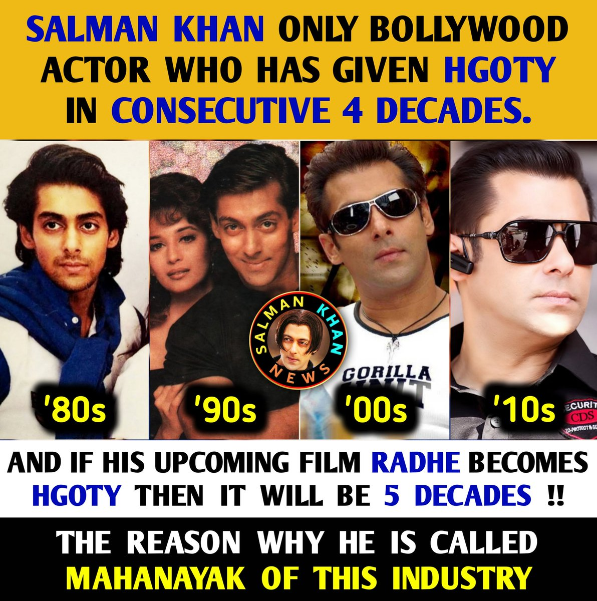 #SalmanKhan only bollywood actor who has given #HGOTY in consecutive 4 decades ('80s, '90s, '00s & '10s). . . . 💥 And if his upcoming film #Radhe becomes HGOTY then it will be 5 decades! 🔥 The reason why he is called MAHANAYAK Of This Industry 👑