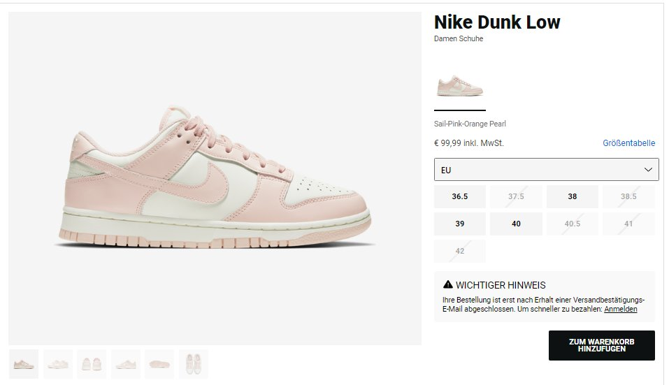 Try adding to cart: Nike Dunk Low