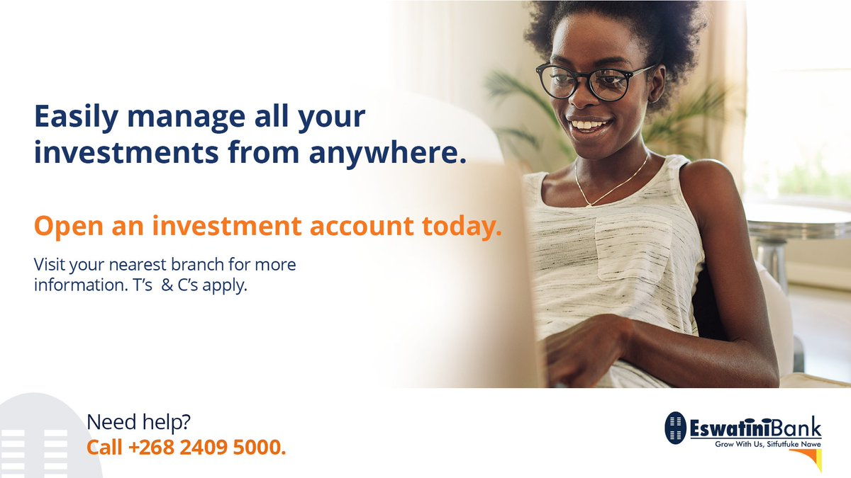 Manage all your investments in the safety of your own home with Eswatini Bank's Investment accounts & digital solutions.  Does your bank do this?  #EswatiniBank #Eswatini #StayHome #StaySafe #InvestmentsAccounts