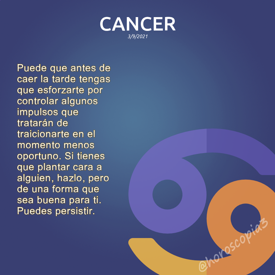 Horóscopo diario de cancer. [3/9/2021] #horoscopo #cancer