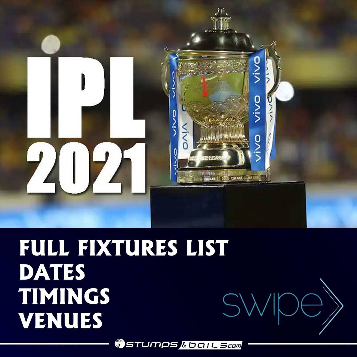 IPL 2021 Detail Schedule  Follow us @stumpnbails #INDvsENG #Cricket #csk #rr #rcb #punjabkings #kkr #mi #dc #srh #ipl #ipl2021 #VijayHazareTrophy #indianpremierleague #MSDhoni #ViratKohli