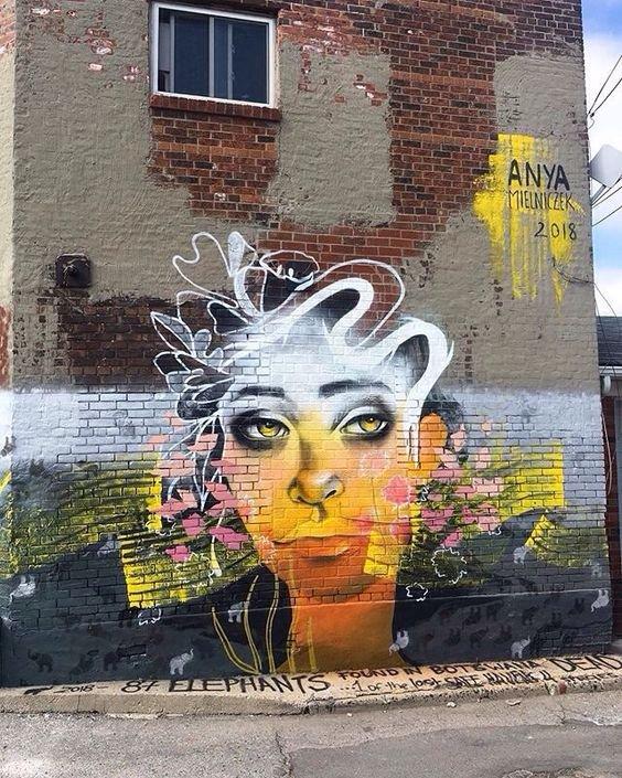 Bonjour 👀 #streetart.  #urbanart.  #mural  By : Anya Mielniczek