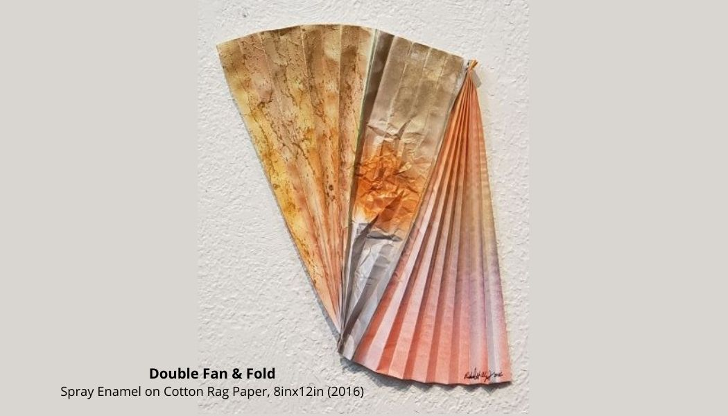 """""""Double Fan & Fold"""" Spray Enamel on Cotton Rag Paper, 8inx12in (2016) Please #checkout and #artshare this art from the 2016 #painting series.  Feel free to #sharethearts to #network.  Thank You!  #supportthearts #boosttheats #arteyart #cultura #decorart #devart #artbot #indiedev"""