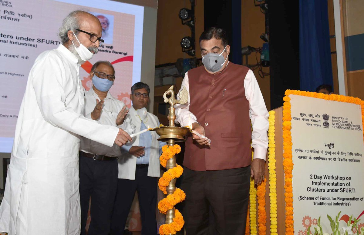 Union Minister @nitin_gadkari Inaugurates Two-day Workshop on Implementation of Clusters under Scheme of Fund for Regeneration of Traditional Industries (SFURTI) at the Dr. Ambedkar International Centre in New Delhi on Tuesday.   Details: