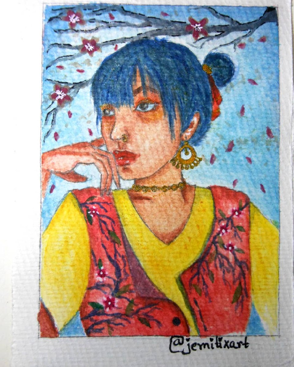 """""""Due to their short bloom time, Sakura blossoms are a metaphor for life itself: beautiful yet fleeting. You'll realize when you're as old as me to hang on to the good times because they won't last forever."""" #paintingoftheday #art #ArtistOnTwitter #InternationalWomensDay #artwork"""