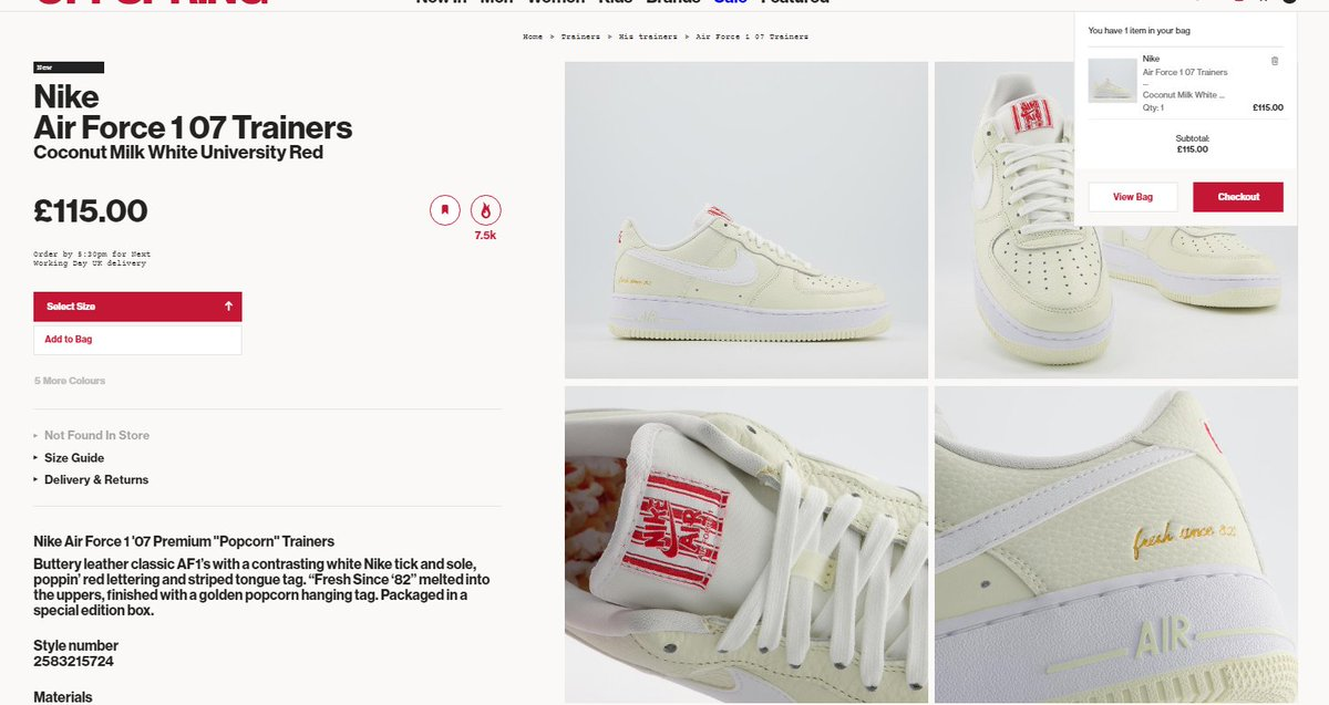 Sizes adding to cart: Nike Air Force 1 '07