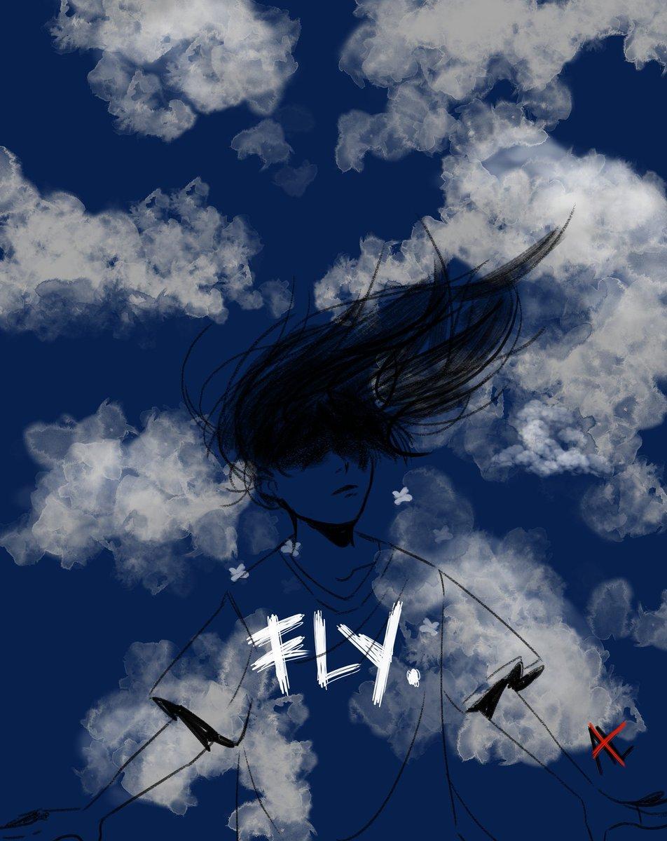 """"""" now i'm feeling like i'm flyin' """" 🎵Honsool by agust d  #ArtistOnTwitter #AgustD #art"""