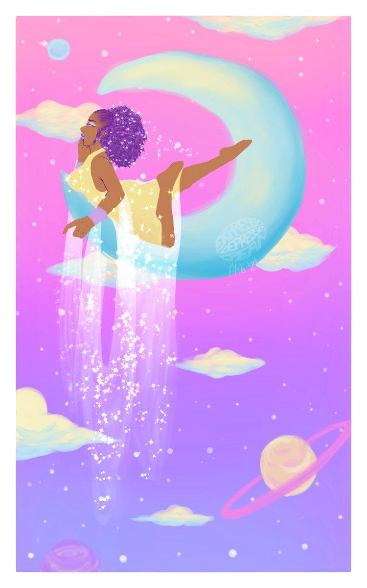 Space girl I saw a lunar eclipse #ArtistOnTwitter #artwork #LGBT #lgbtartist #spaceart #pastelspace #aesthetic #spacegirl