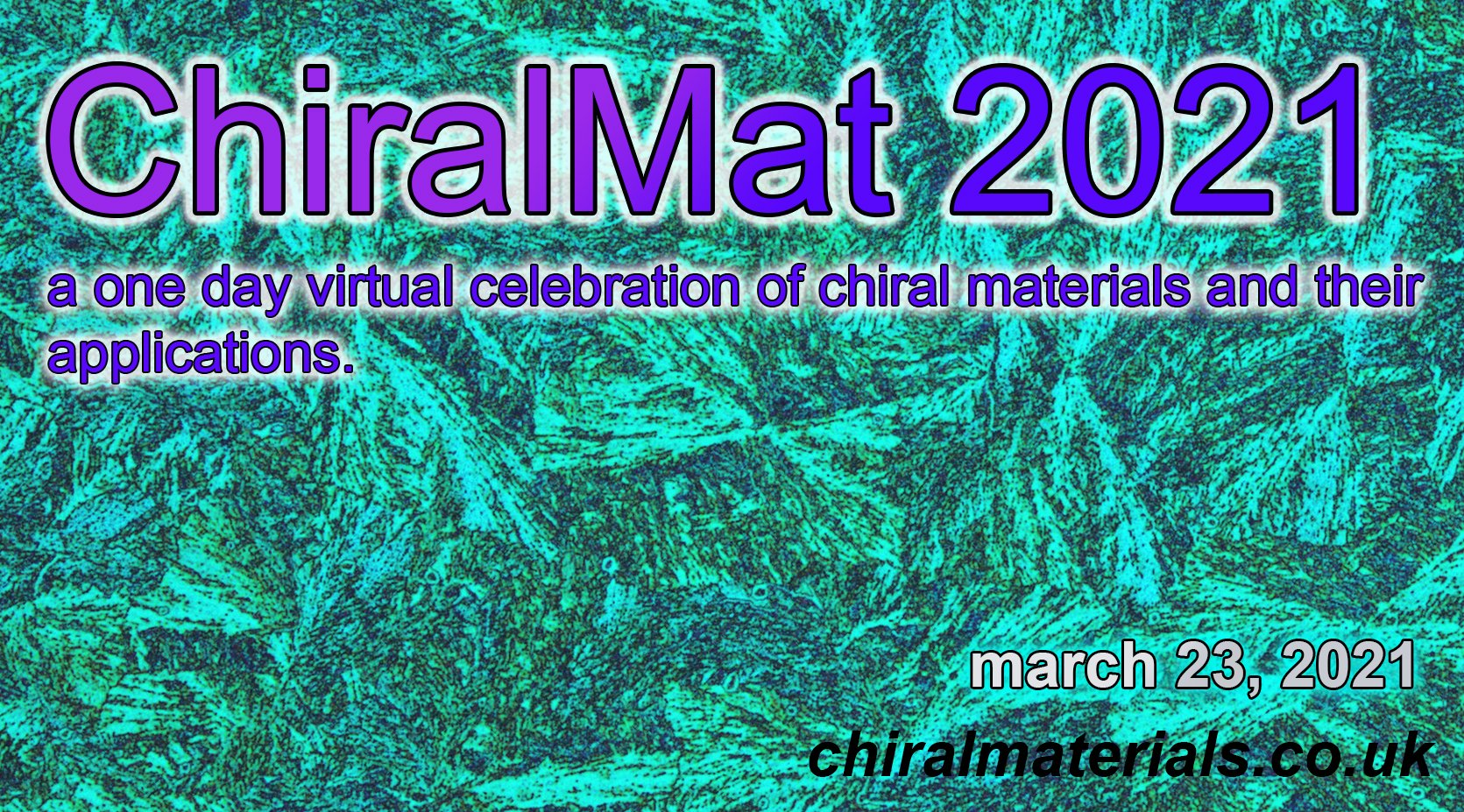 chiral molecules arranged like pasta as background for conference poster