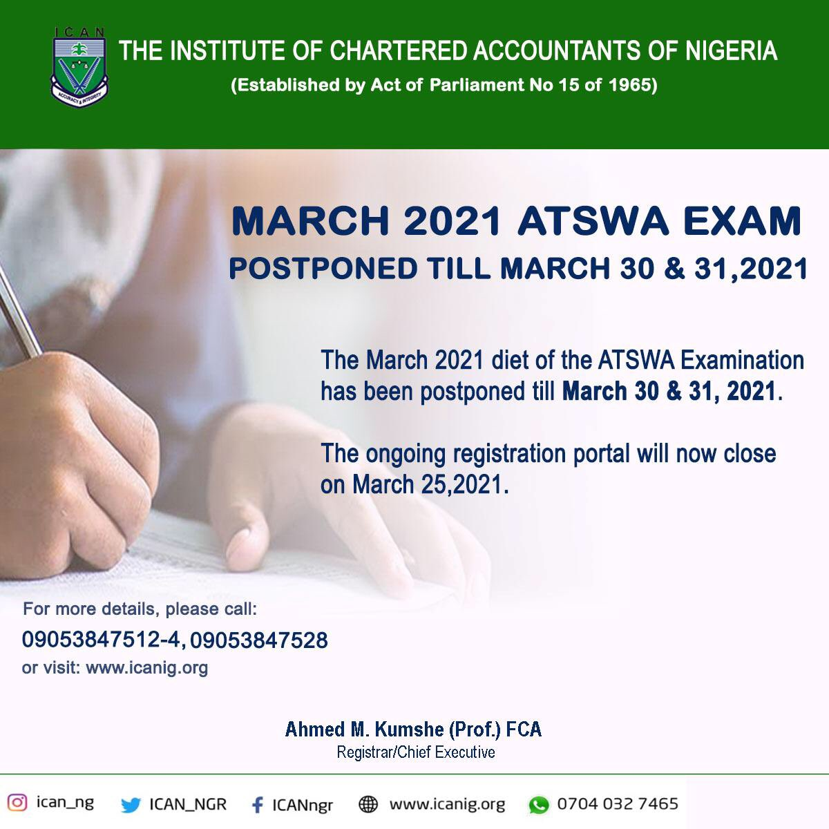 ATSWA Examination Registration March 2021 Diet Rescheduled