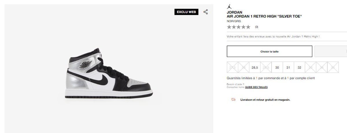 PS sizes of the Air Jordan 1 Retro High OG