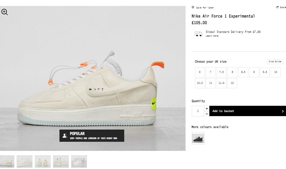 Also dropped via Footpatrol: Nike Air Force 1 Experimental