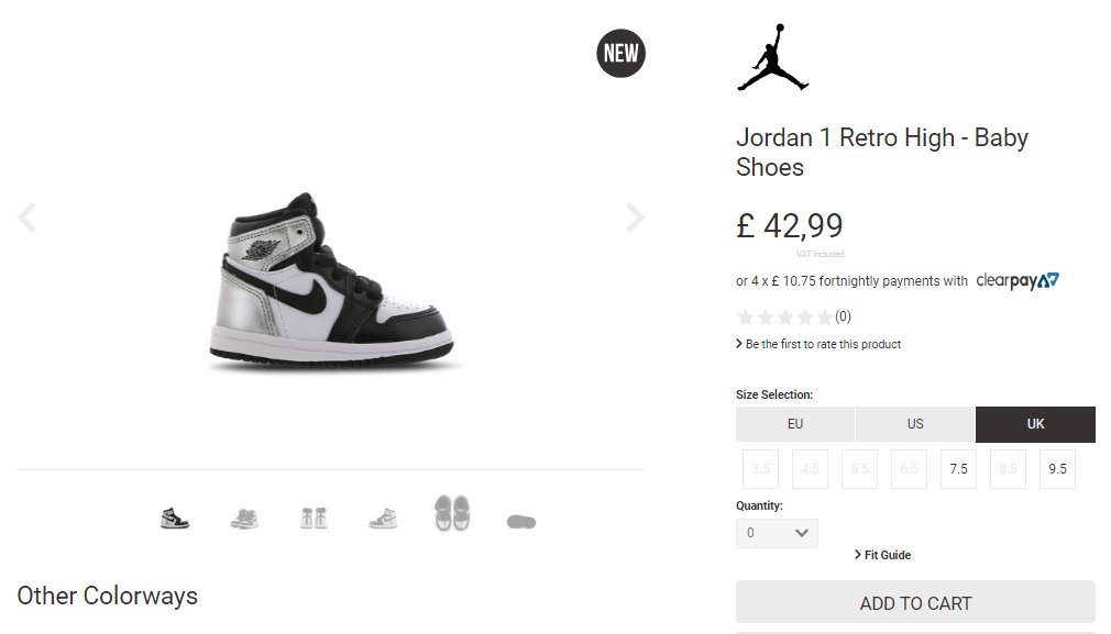 Two sizes restocked via Footlocker UK: TD Air Jordan 1 Retro High OG