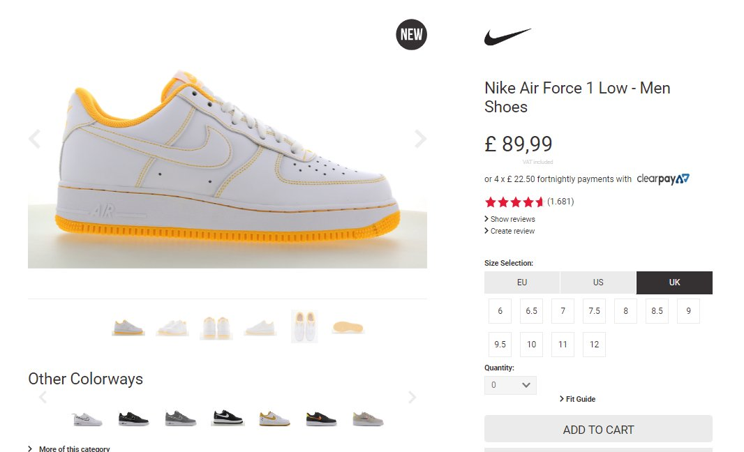 Live via Footlocker EU: Nike Air Force 1 Low