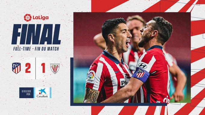 Skor akhir Atletico Madrid 2-1 Athletic Bilbao
