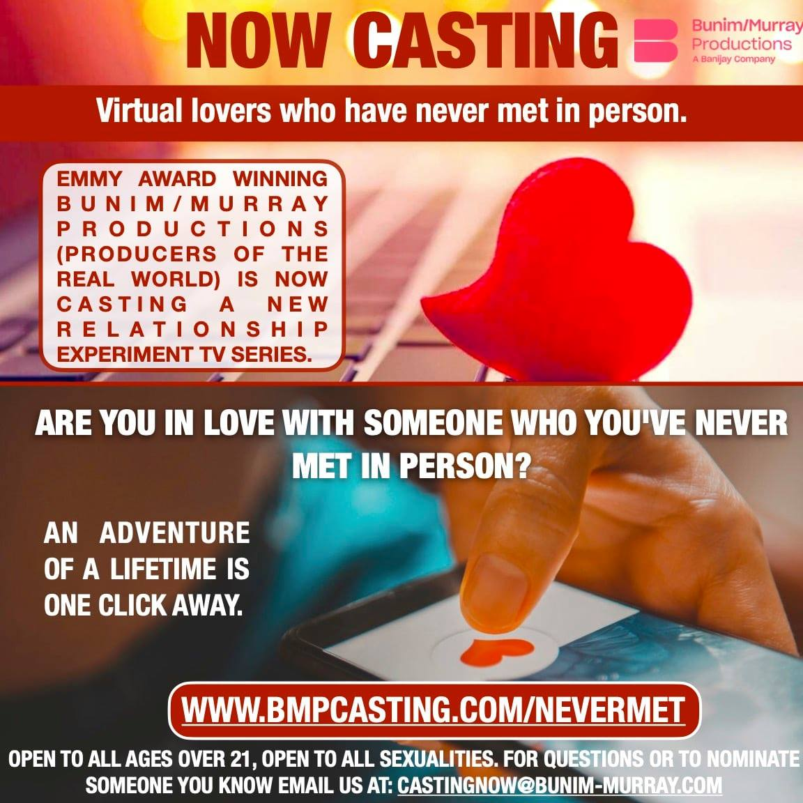 Now Casting VIRTUAL LOVERS Who Have NEVER Met In Person! Are you dating someone special online, but have still not met face to face? To apply, visit https://t.co/L7tOX9jULA. Tag someone you know who is in a virtual relationship! #nevermet #onlinelove #longdistance https://t.co/SUyaosylgR