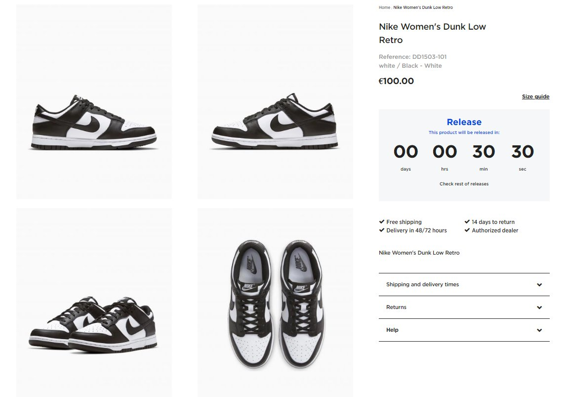 Live in 30 minutes via Footdistrict: Nike Dunk Low Retro