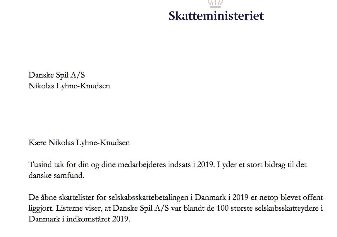 Brev fra @mfMorten og @skmdk  Siden 1949 har Danske Spil været til glæde og til gavn. Det er vi både via vores bidrag til udlodningsmidlerne på over en milliard kr., men også via statsafgifter og selskabsskab. I 2019 blev det til hele 2,95 mia. kr. Det er vi stolte af. https://t.co/oTuMuuj5rU