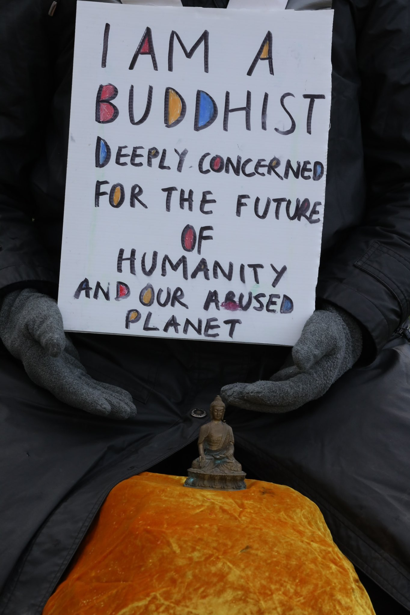 A handmade sign saying 'I'm a Buddhist deeply concerned for the future of humanity and our abused planet'.