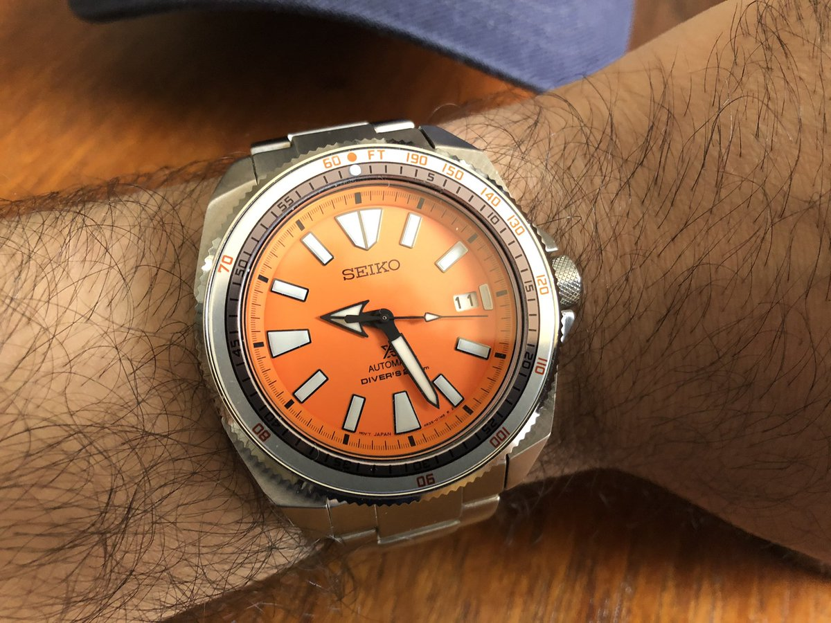 When a Seiko and Doxa love each other very much... the Seiko Samurai -Doxa mod.   #SeikoMods #Seiko #SeikoSamurai #SRPC07 #OrangeSamurai @seikowatchofficial https://t.co/GRgIksDZ6X