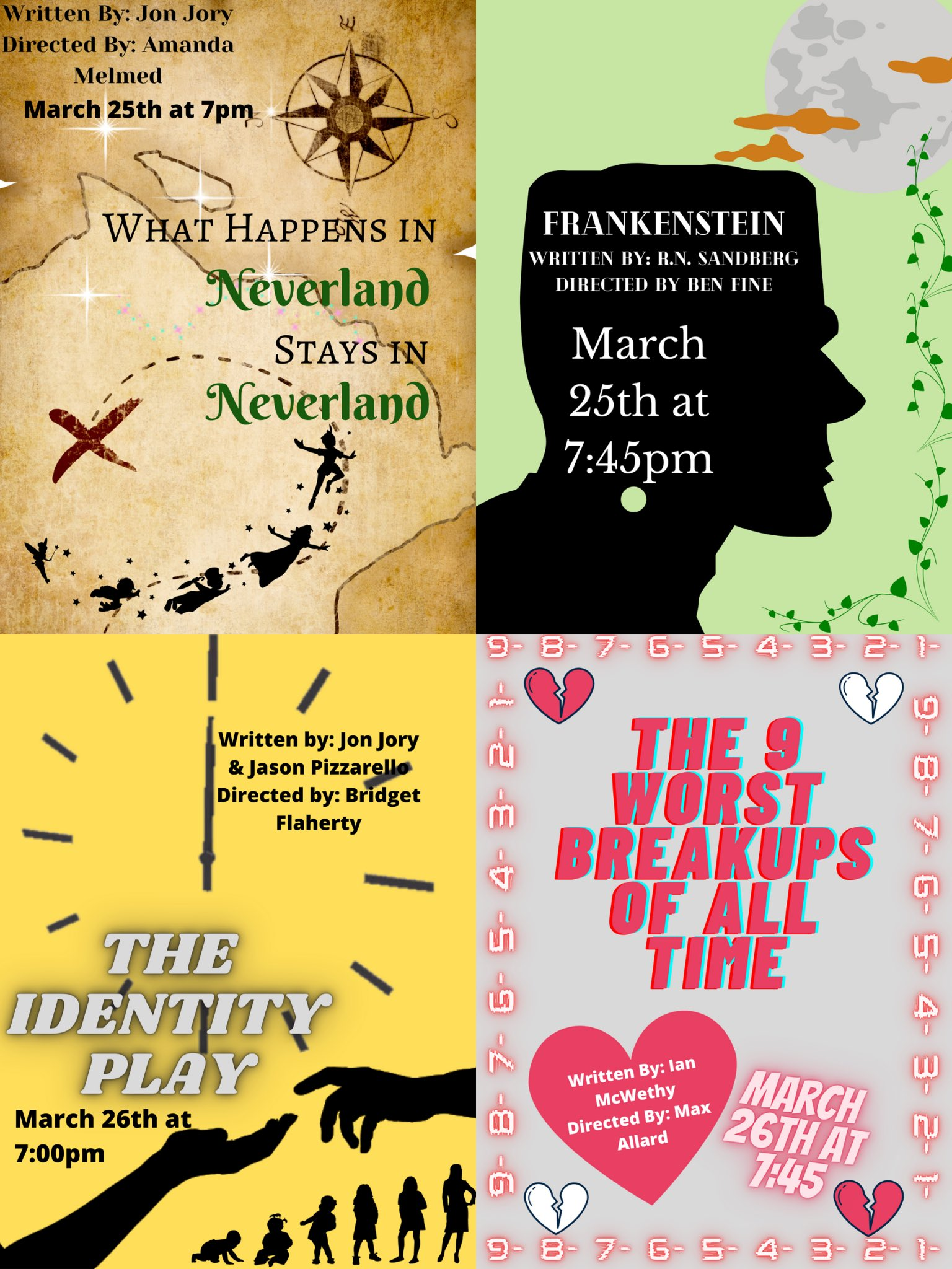 Hold the date for 1 Act Play Performances on 3/25 and 3/26