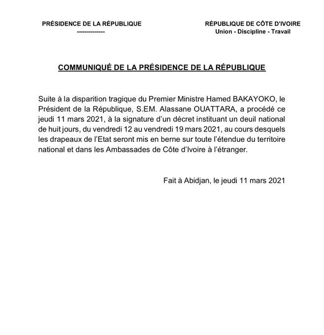 Mort d'Hamed Bakayoko: Ouattara a signé un décret hier