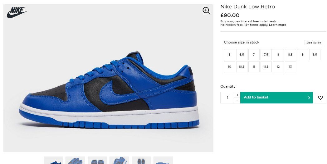 Sizes checking out: Nike Dunk Low