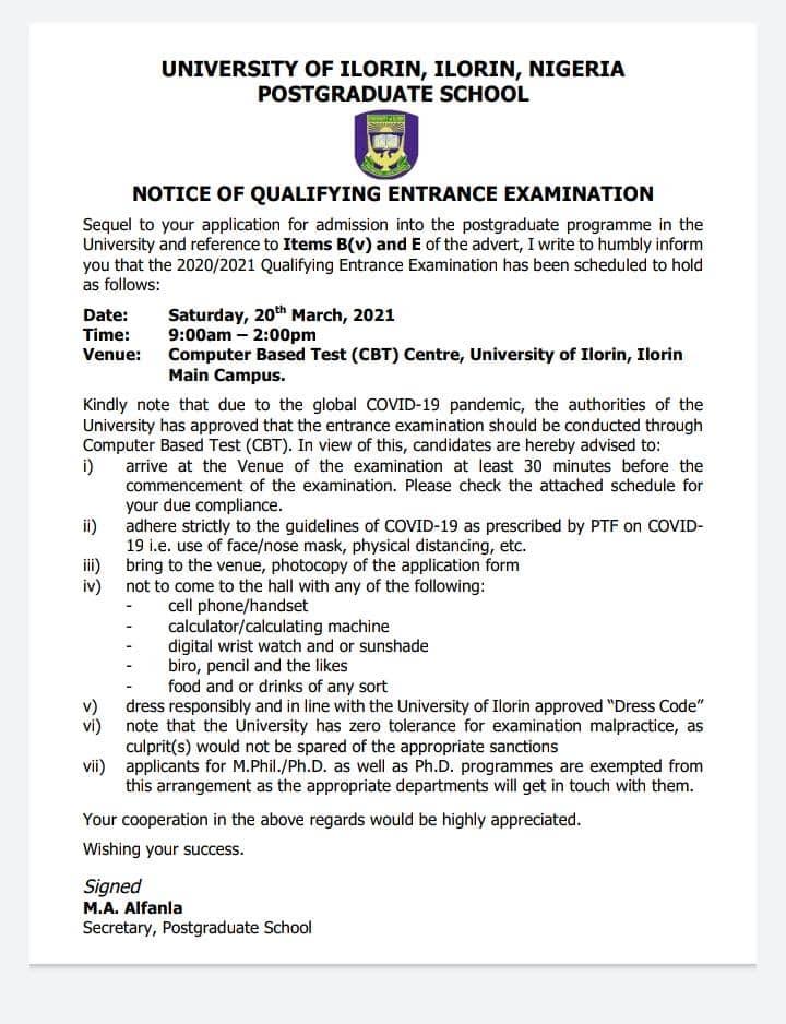 UNILORIN Notice of Qualifying Examination for Postgraduate School